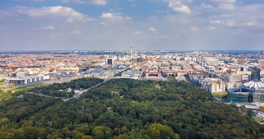 Aerial view of Berlin skyline panorama with Grosser Tiergarten public park on a sunny day with blue sky and clouds in  Berlin, Germany.