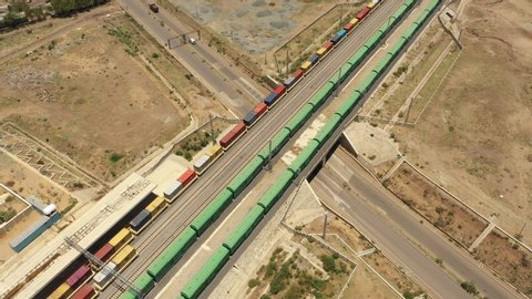 Adama, ethiopia – march 2019: africa import export and trade - cargo trains  on ethiopia - djibouti railway line (built by chinese company)