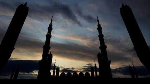 Masjid Al Nabawi or Nabi Mosque, Time Lapse at Sunrise, Medina, Saudi Arabia