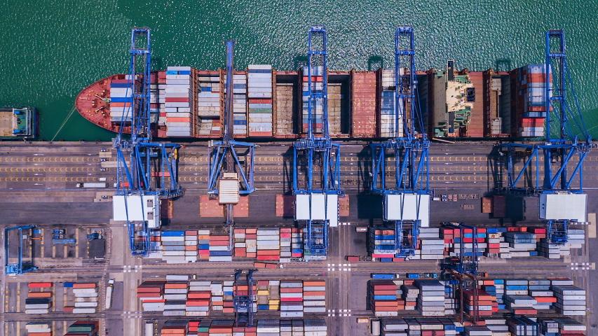 4K Time lapse industry logistics seaport | Shutterstock HD Video #1036301717