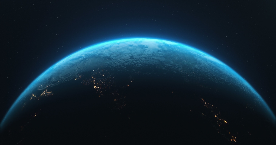 Earth Rotate. Rotating Earth In Deep Space. Earth Globe 4K. Round Planet In Deep Space. #1036343297