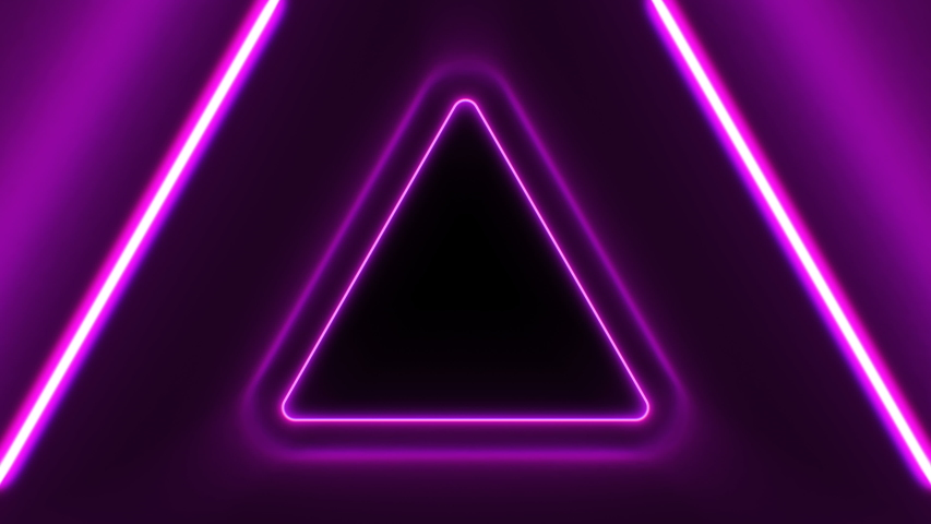 Abstract Beautiful Triangle Tunnel with Neon Light Lines Moving Fast. Purple Bright Colors. Background Futuristic Tunnel with Glowing Lights. Looped 3d Animation Art Concept. 4K Ultra HD 3840x2160.    Shutterstock HD Video #1036370207