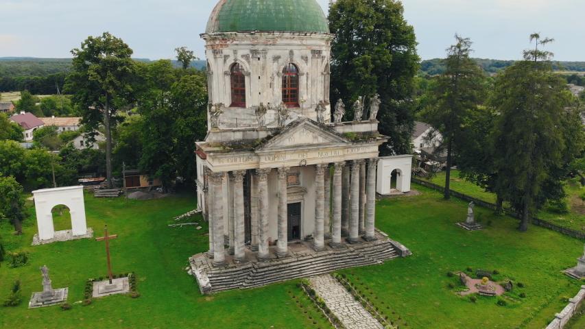 Catholic church located in the village Pidgirci (Lviv region, Ukraine), aerial view of Old Catholic church