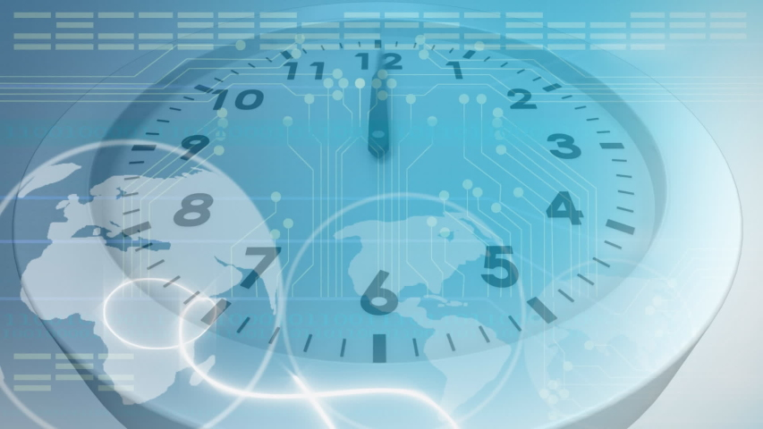 Animation of a fast moving clock and globe spinning on a blue background #1036433387