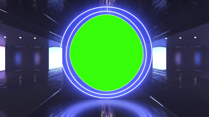 Abstract creative neon, led light tunnel and neon circle shapes with green screen, chroma key animation.  | Shutterstock HD Video #1036453787