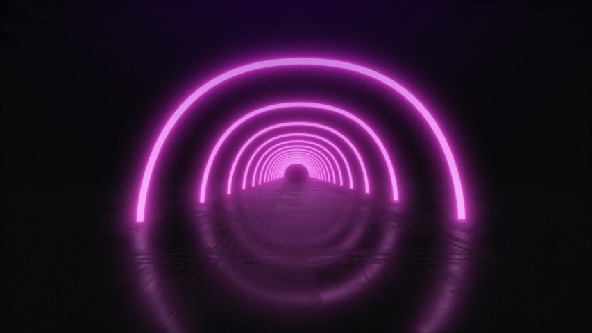 3d Abstract seamless background, looped animation. Neon circles. | Shutterstock HD Video #1036496807
