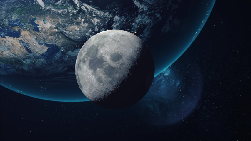 Beautiful space view of the moon orbiting the earth. Ultra realistic 3D animation in 4K 30fps. | Shutterstock HD Video #1036530707