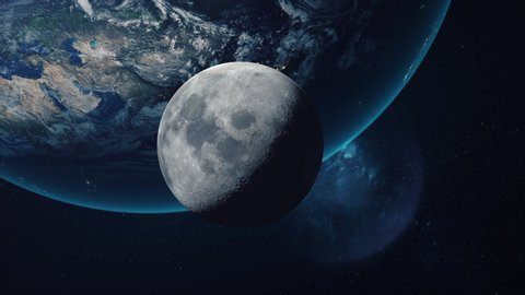 Beautiful space view of the moon orbiting the earth. Ultra realistic 3D animation in 4K 30fps.