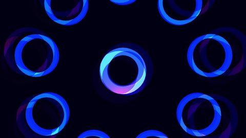 Glowing blue flowery circle burst motion graphics background 4K seamless loop. Best for animation advertisements or projection mapping. Trendy colors makes for hip stylish fashion music videos.