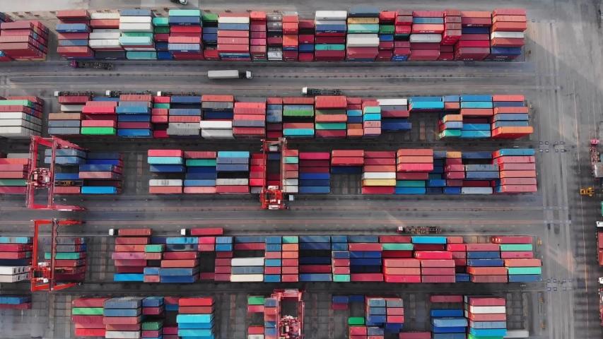 Aerial view, harbor by crane, international water transport.  | Shutterstock HD Video #1036664717