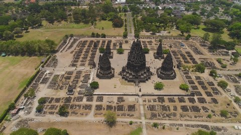 aerial view hindu temple Candi Prambanan in Indonesia Yogyakarta, Java. Rara Jonggrang Hindu temple complex. Religious building tall and pointed architecture Monumental ancient architecture, carved