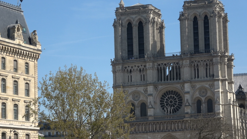 Front view of the Notre Dame in Paris | Shutterstock HD Video #1036918817