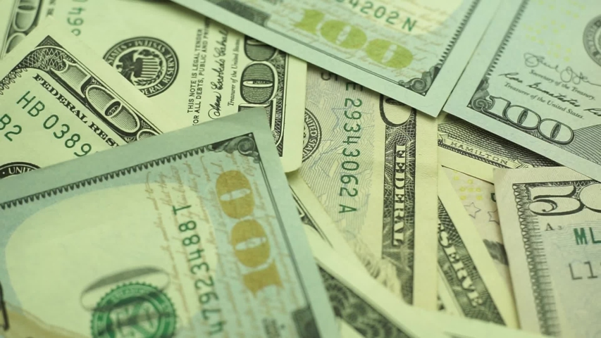 Dollars Close up Concept. American Dollars Cash Money background. Macro view.  Rotation 360 degrees. | Shutterstock HD Video #1036934807