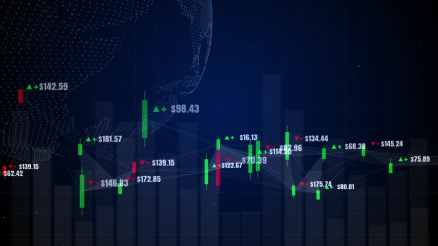 Candlestick graph chart with digital data, uptrend or down trend of price of stock market or stock exchange trading, investment and financial concept. | Shutterstock HD Video #1036939457