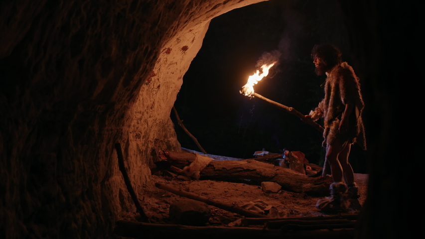 Primeval Caveman Wearing Animal Skin Exploring Cave At Night, Holding Torch with Fire Looking at Drawings on the Walls at Night. Cave Art with Petroglyphs, Rock Paintings. Side View | Shutterstock HD Video #1037019377