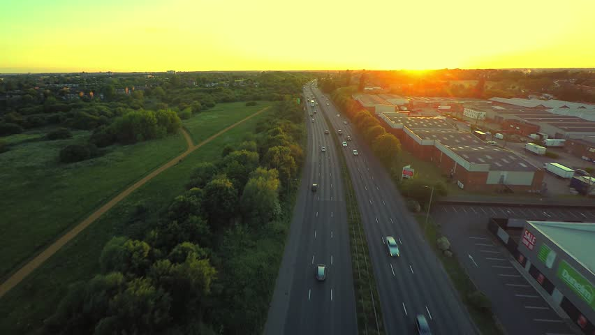 Aerial shot over a busy highway | Shutterstock HD Video #10371512