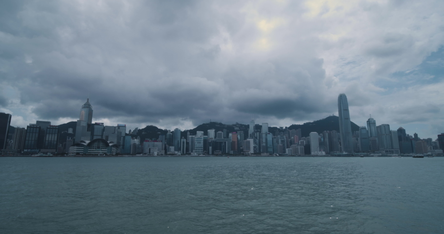 Super wide angle of Victoria Harbour in Hong Kong Clouds day | Shutterstock HD Video #1037229647
