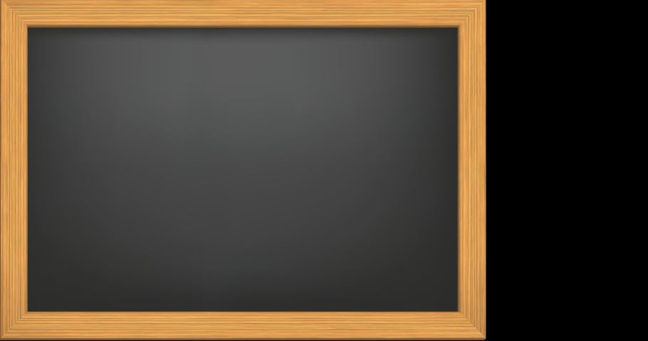 """Animation of the writing """"Back to school"""" in chalk on a black chalkboard with stylized kid and pencils appearing on transparent background with alpha channel 