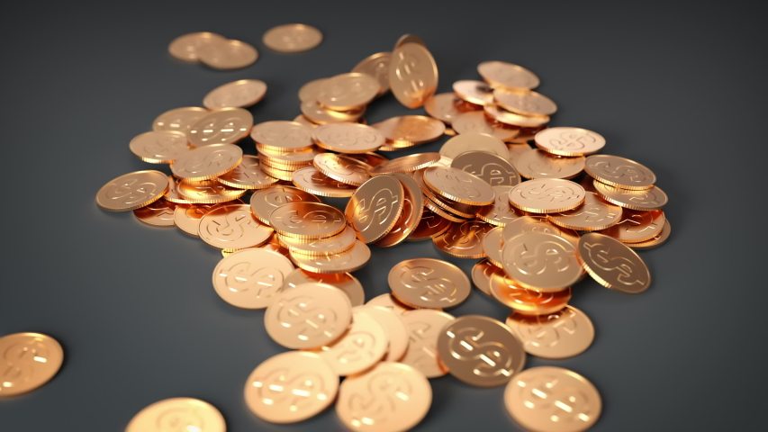 Golden dollar tokens falling on ground with compositing mask for background replacement   Shutterstock HD Video #1037285777
