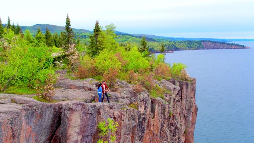 Aerial Drone, Couple on Split Rock Cliff, State Park Minnesota 4K | Shutterstock HD Video #1037304767