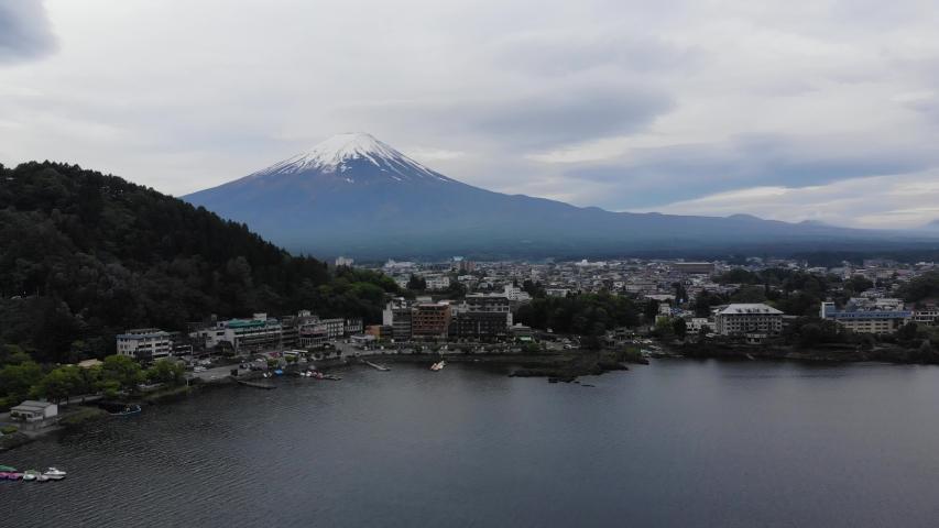 Kawaguchiko Japan Mount Fuji drone view | Shutterstock HD Video #1037333807