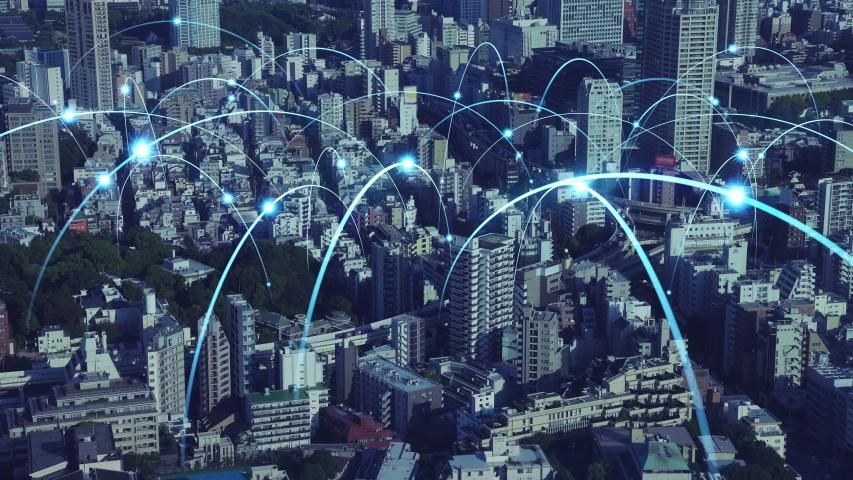 Smart city and communication network concept. 5G. LPWA (Low Power Wide Area). Wireless communication.   Shutterstock HD Video #1037353967