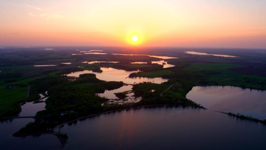 Marsh, Wetlands, River at Sunset, 4K Aerial Drone Shot | Shutterstock HD Video #1037358317