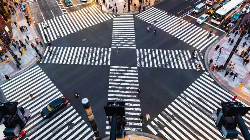 Time lapse People passing the street crossing in Ginza district, Tokyo. Crosswalk. Intersection in Tokyo,Japan | Shutterstock HD Video #1037389667