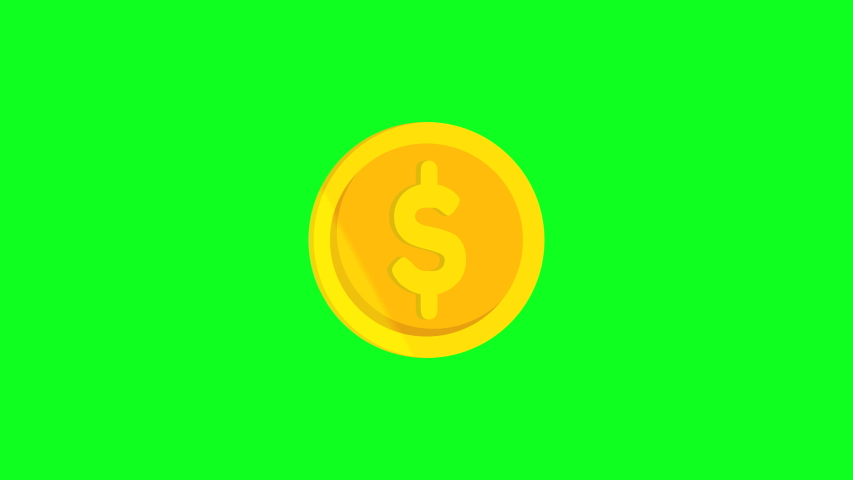 Cripto currency dollar coin animation. pop up and Light Glint effect.motion graphic come in on scene and come out animation.isolated on green bacground   Shutterstock HD Video #1037477417