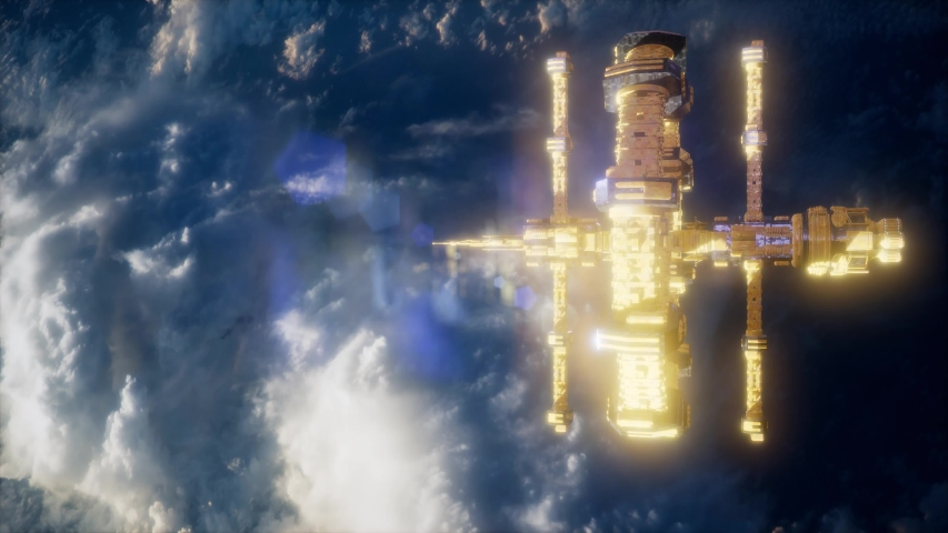 Earth and outer space station.. Elements of this image furnished by NASA | Shutterstock HD Video #1037489417
