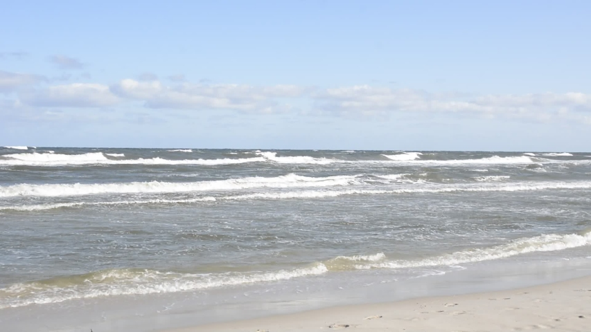 View on the Baltic Sea from beach in Karwia (Poland) | Shutterstock HD Video #1037509877