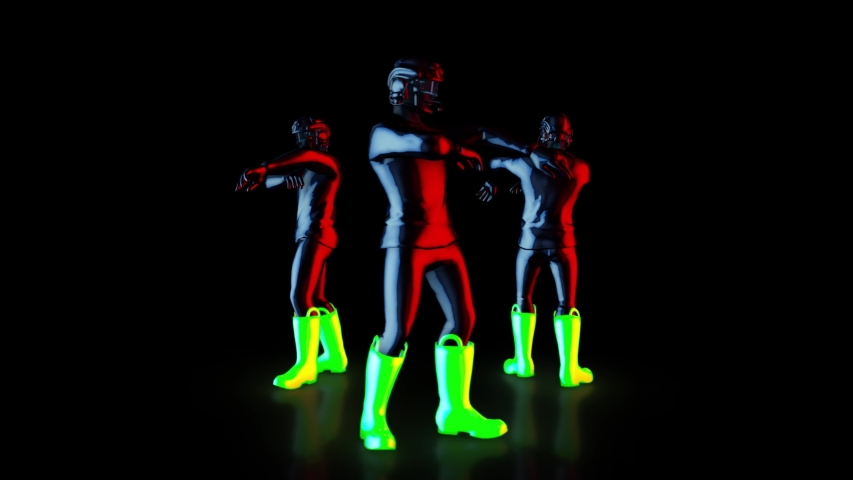 Male dance group performs in futuristic metallic neon costumes, 3D Rendering Animation, The camera moves around. | Shutterstock HD Video #1037545667