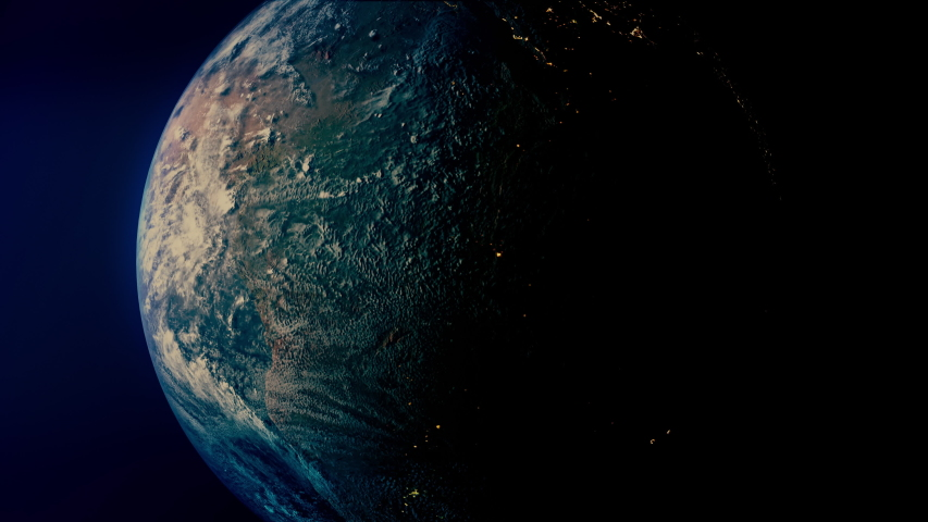 Earth from space from night to day. Realistic 3D render with city lights and atmospheric lighting  | Shutterstock HD Video #1037726237
