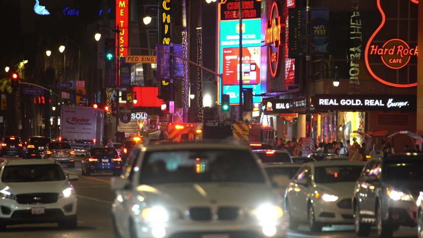 Hollywood, California, USA - Sep 15, 2019: Fire Trucks And Ambulance On Hollywood And Highland At Night  | Shutterstock HD Video #1037965997
