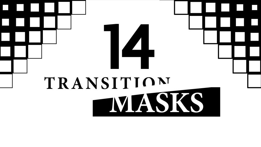 Transition Masks With a Moving Square Pattern. 14 Versions of Modern Luma Mattes or Alpha Channels. Transition Black and White Masks Templates in 4K for Editing Footages.