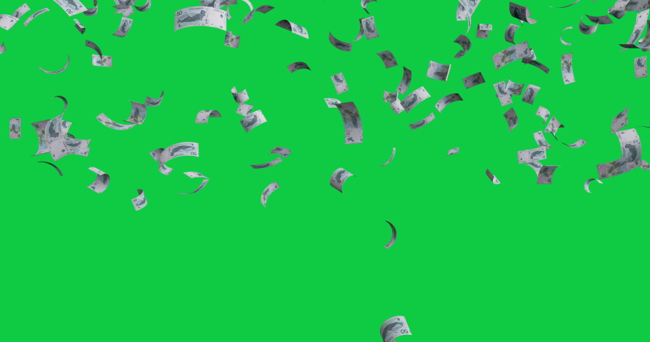 Flying banknotes 50 Argentine pesos 2018 - 4K 30fps, 3d render, Isolated on green background | Shutterstock HD Video #1038128237