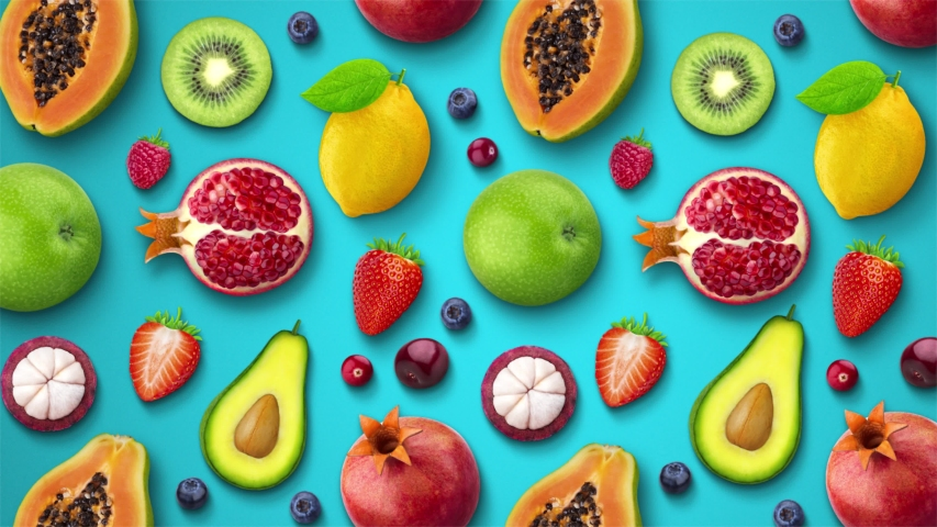 Fruit Animated Pop-Up Background Blue
