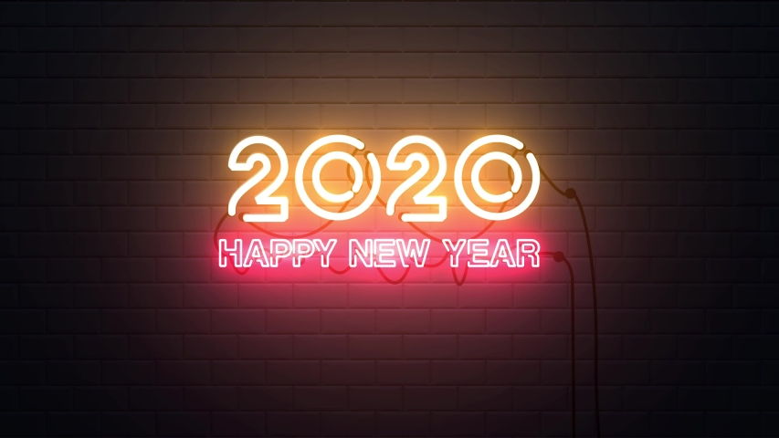 Happy New Year 2020 neon sign background new year resolution concept | Shutterstock HD Video #1038638897