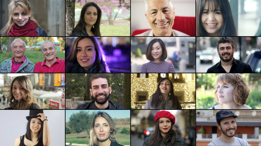 Composition of happy smiling people. | Shutterstock HD Video #1038799487