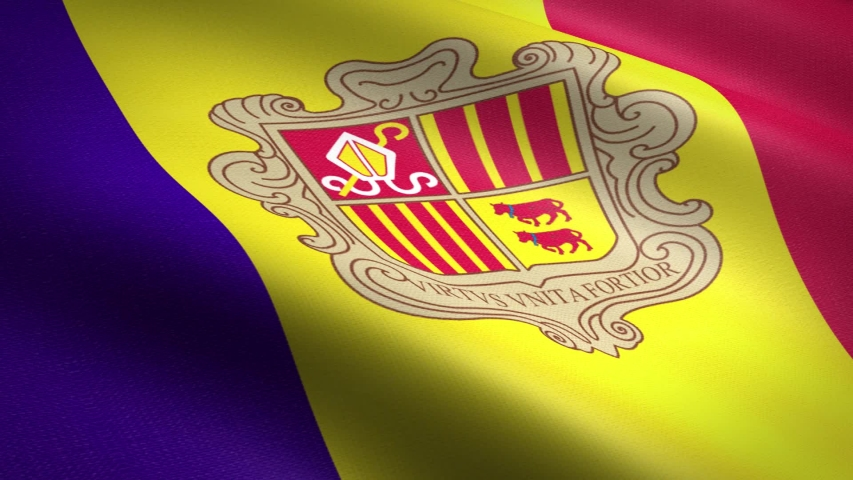 Flag of Andorra. Waving flag with highly detailed fabric texture seamless loopable video. Seamless loop with highly detailed fabric texture. Loop ready in HD resolution 1080p 60fps | Shutterstock HD Video #1039234157