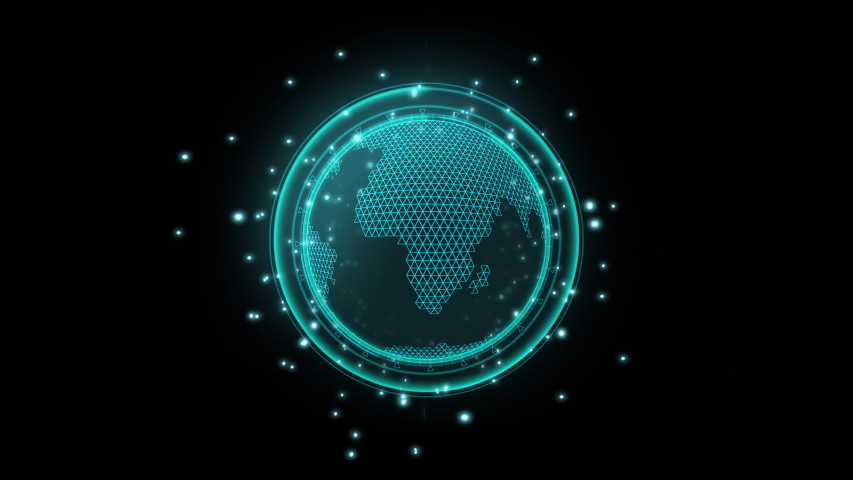 3D style polygon earth map rotation with searching symbol, with neon light and bokeh concept for sci-fi technology ,Use transparent effect for layer , Uhd footage | Shutterstock HD Video #1039398917