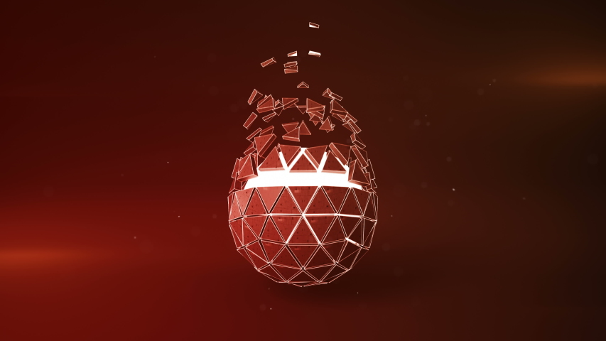 Red spinning polyhedron and glowing core. Abstract futuristic technology or science fiction concept. Seamless loop 3D render animation 4k UHD 3840x2160 | Shutterstock HD Video #1039418237