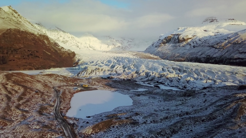 Aerial view of Vatnajokull Glacier, Iceland  | Shutterstock HD Video #1039455017