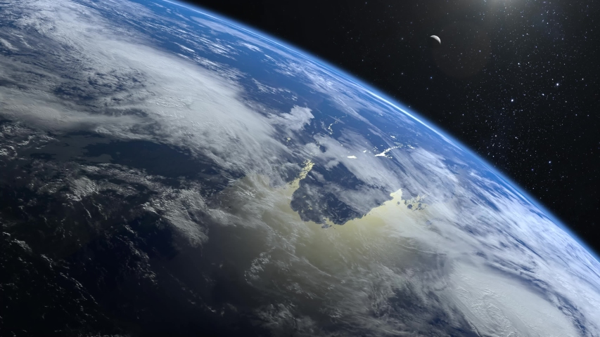View of Earth and moon from space. The camera flies away from the Earth. Stars twinkle. The horizon is turned to the right. 4K. Realistic atmosphere. 3D Volumetric clouds. #1039543907