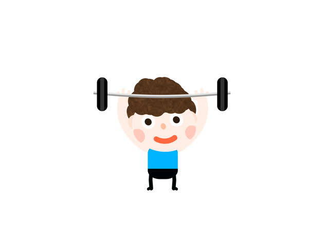 Funny Cartoon Animation Little Boy Kid Lifting Weight Man Doing