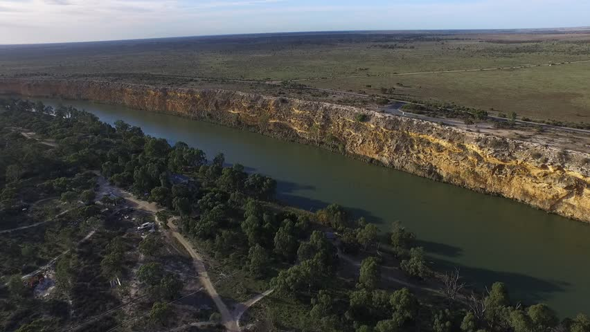 Aerial video footage flying over nildottie lookout at river murray cliffs at big bend near with  river flats covered in tall gum trees along the murray river banks   Shutterstock HD Video #10397447