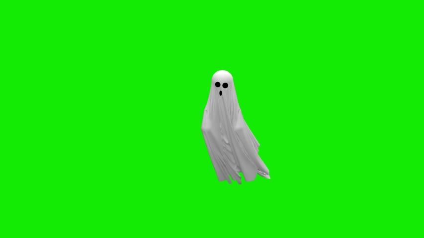 Cartoon Flying white Ghost on an green screen | Shutterstock HD Video #1039748687