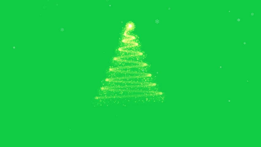 Animated Christmas tree with falling snowflakes on green screen background and copyspace, space for text. Christmas tree made of gold animated particles. Christmas mood. Glittering effect.