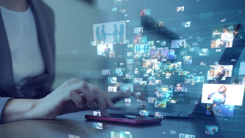 Social networking service concept. Streaming video. Video library. | Shutterstock HD Video #1039912037