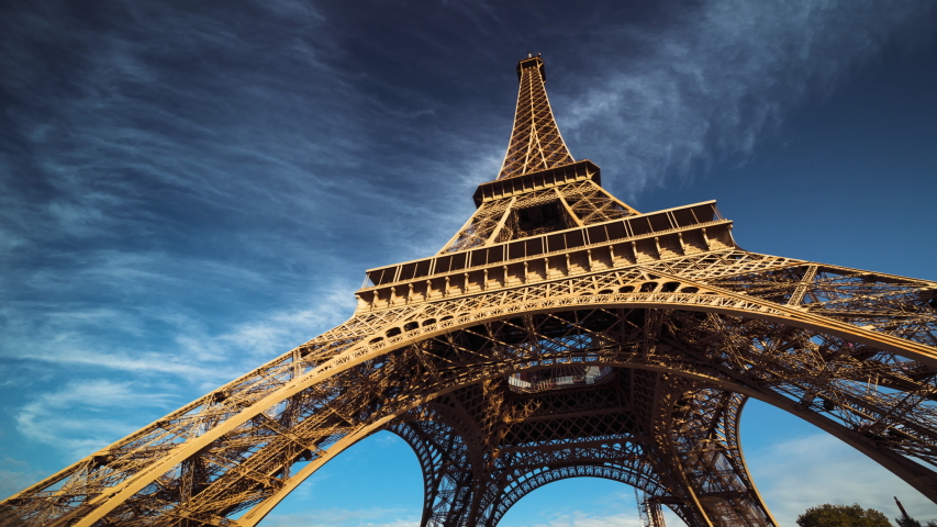 Hyper lapse, Eiffel tower, Paris. France | Shutterstock HD Video #1040000237